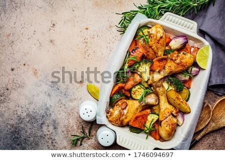 鶏 · パン · 食品 · 野菜 · 白 · ホット - ストックフォト © m-studio