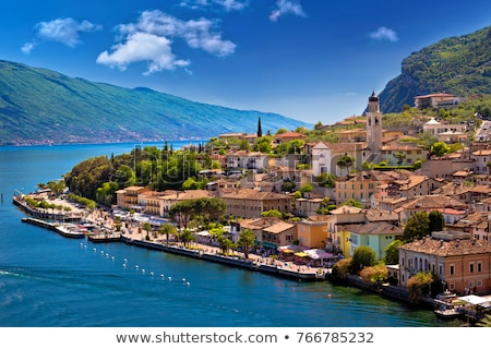 Limone sul Garda turquoise waterfront and lake cliffs view Stock photo © xbrchx