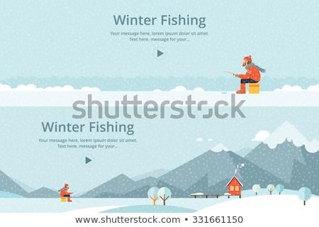 Jég halászat halász meleg ruházat rúd Stock fotó © RAStudio