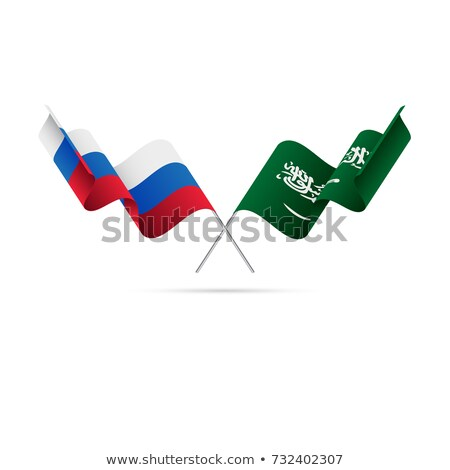 Dois bandeiras Rússia Arábia Saudita isolado Foto stock © MikhailMishchenko