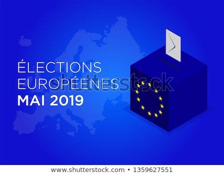 Eleição europeu parlamento união bandeira distintivo Foto stock © Oakozhan