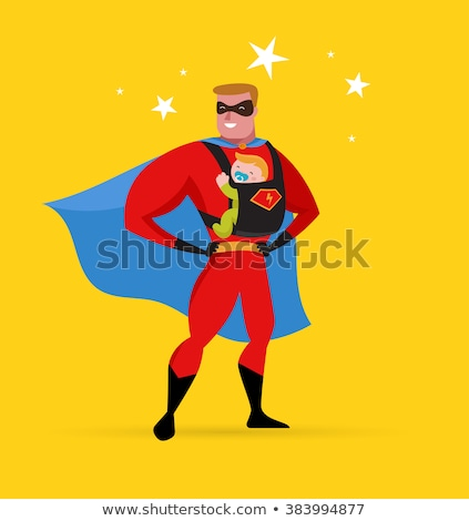 Stok fotoğraf: Super Hero Daddy In Superhero Costume With Carrier And Baby