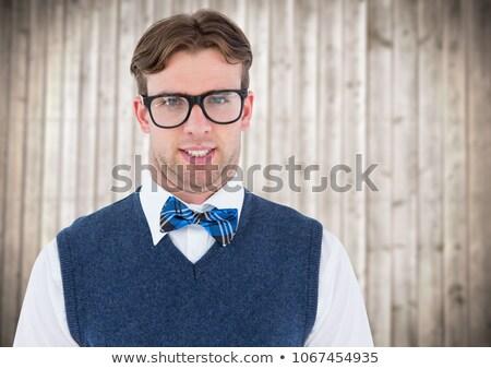 Inek öğrenci adam mavi yelek ahşap Stok fotoğraf © wavebreak_media