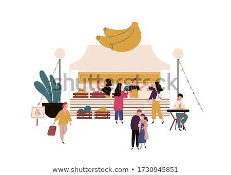people buying products on marketplace fair vector stock photo © robuart