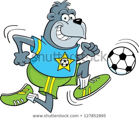 Cartoon goryl gry piłka nożna ilustracja sztuki Zdjęcia stock © bennerdesign