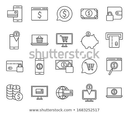 Laptop piggy bank moeda dinheiro compras on-line computador Foto stock © yupiramos