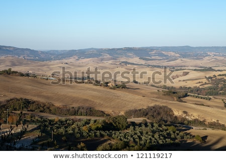 tepeler · etrafında · Toskana · İtalya · yol · doğa - stok fotoğraf © wjarek