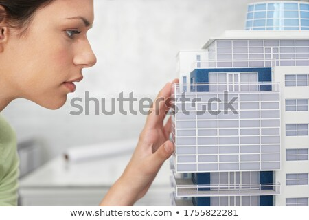 close-up of architect in profile examining model Stock photo © photography33
