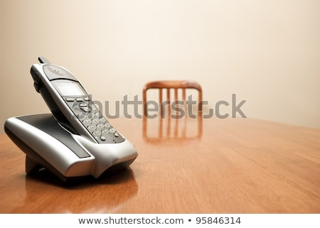 Silver black table cordless phone Stock photo © shutswis