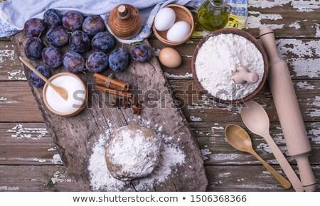 Stock photo: preparing, baking plum cake