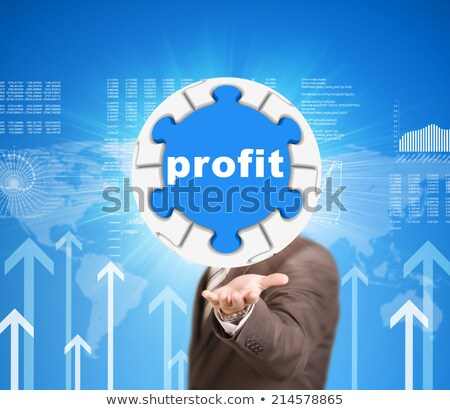 business man hold puzzle sphere with profit label stock photo © cherezoff