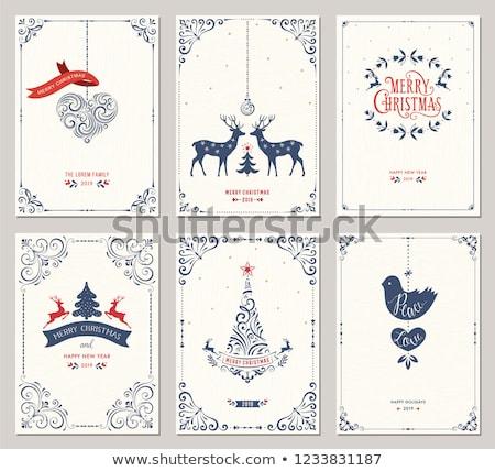 Karácsony új év klasszikus kék rénszarvas kártya Stock fotó © cienpies