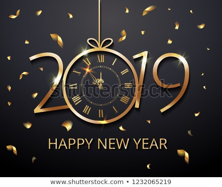 2019 happy new year illustration with fireworks and number on dark background holiday design for fl stock photo © articular