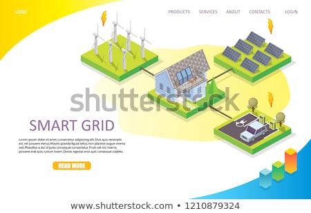 Hernieuwbare energie app interface sjabloon zakenlieden schone Stockfoto © RAStudio