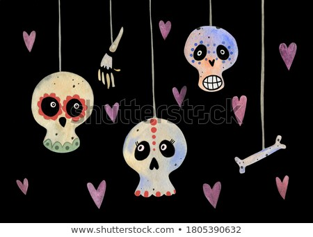Day of dead cute watercolor mexican cartoon card Stock photo © cienpies