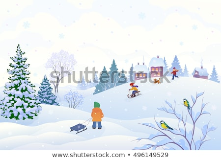 People Leisure with Sledge in Winter Park Vector Stock photo © robuart