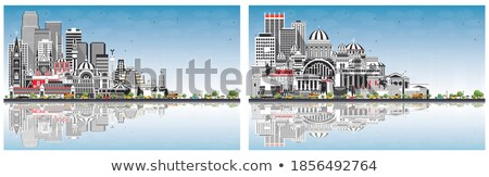 Athens Skyline with Grey Buildings, Blue Sky and reflections Stock photo © ShustrikS