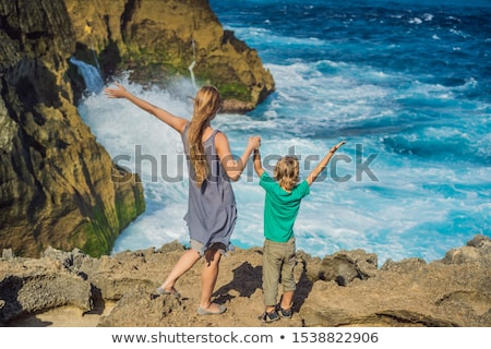 Anya fiú turisták tenger angyalok Bali Stock fotó © galitskaya