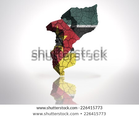 Banderą Mozambik murem malowany grunge tekstury Zdjęcia stock © creisinger
