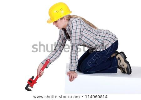 Szőke vízvezetékszerelő franciakulcs kéz munka szépség Stock fotó © photography33