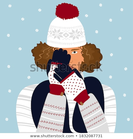 retrato · sério · moço · inverno · roupa · branco - foto stock © alexandrenunes