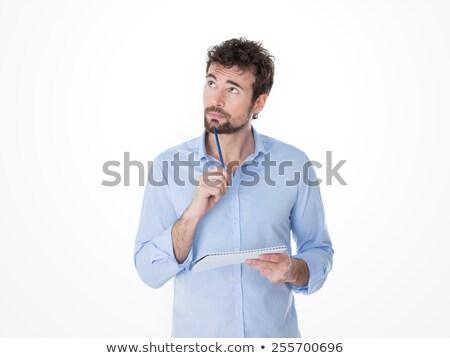 Casual hombre mano barbilla pensando Foto stock © feedough