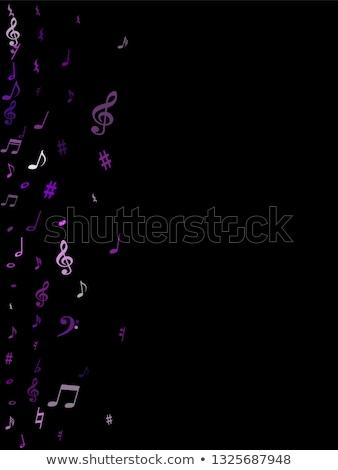 Hangjegyek lila vektor ikon terv zene Stock fotó © rizwanali3d