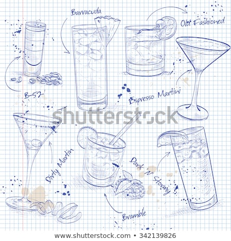 the unforgettables cocktail set on a notebook page stock photo © netkov1