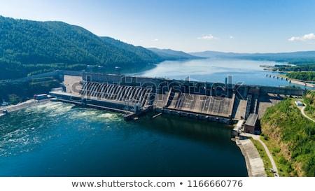 具体的な · 壁 · 建設 · 技術 · 山 · 湖 - ストックフォト © smuki