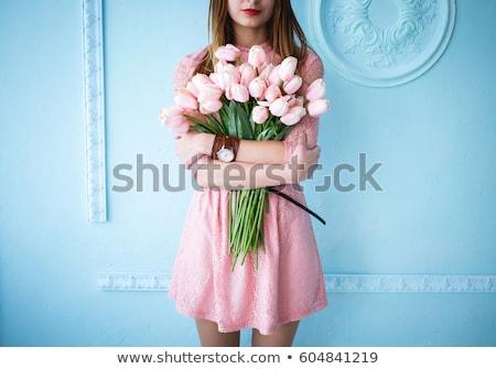 Belle tendre jeune femme fleurs portrait amour Photo stock © deandrobot