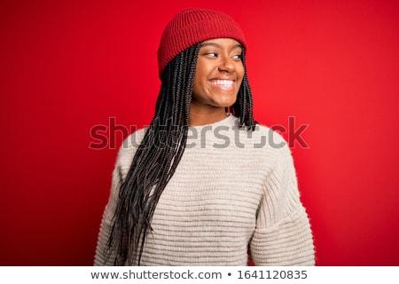 Fiatal nő piros kalap csizma izolált nők Stock fotó © user_9834712