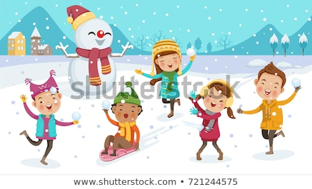 Stock photo: Kids play outdoor winter games vector background