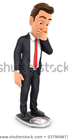 3d businessman weighing himself on bathroom scale Stock photo © 3dmask