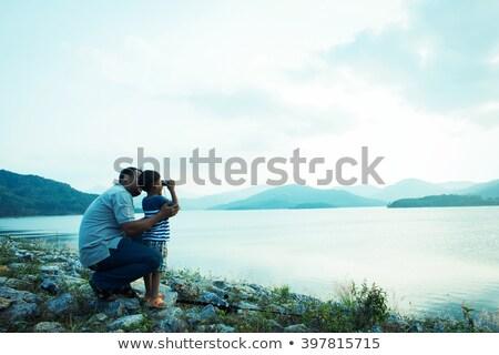 Fiú néz látcső erdő szabadság ünnep Stock fotó © wavebreak_media