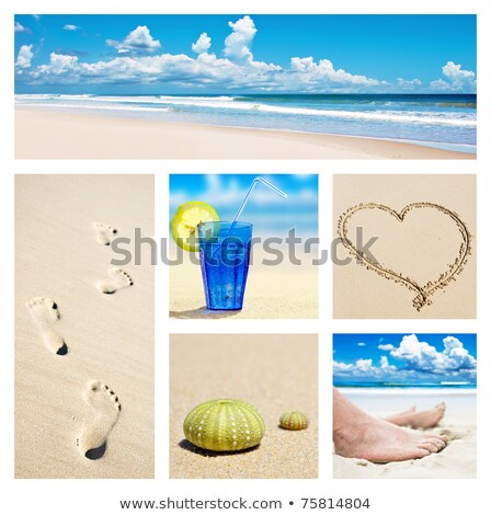 Collage of feet, footprints and shoes on the beach Stock photo © tish1
