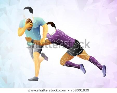 Portret dwa rugby gracze krwi mężczyzna Zdjęcia stock © IS2