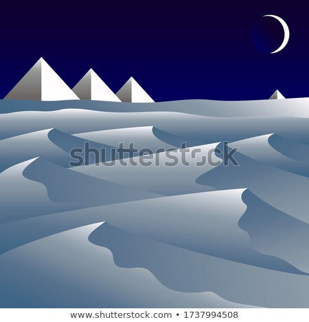 desert scene with pyramids at night Stock photo © bluering