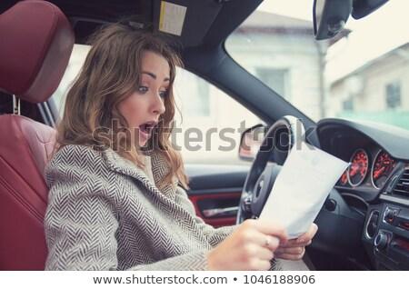 vrouw · naar · ticket · parkeren · auto · ontdaan - stockfoto © ichiosea