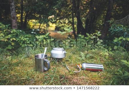 небольшой чайник газ печи горячей Сток-фото © MikhailMishchenko