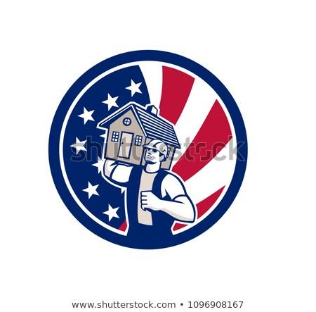 американский дома удаление США флаг икона Сток-фото © patrimonio