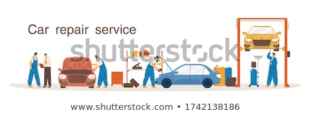 Car Coloring Process by Worker Vector Illustration Stock photo © robuart