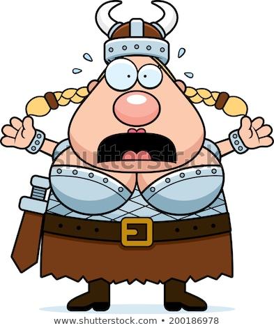 Cartoon vikingo miedo ilustración mirando hombres Foto stock © cthoman