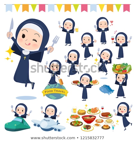 Nun women_food festival Stock photo © toyotoyo