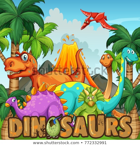 Different types of dinosaurs by the volcano Stock photo © colematt