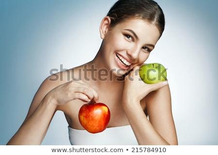 Jonge vrouw twee appels portret aantrekkelijk jonge Stockfoto © Traimak