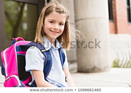 Retrato cute nina mochila fuera escuela Foto stock © Lopolo