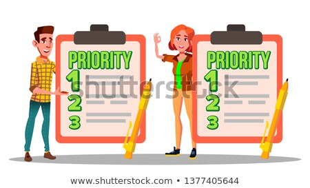 Stock foto: Characters Have Priority List Task To Do Vector