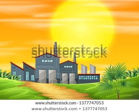 Fabryki wiejskie sceny ilustracja drzewo wygaśnięcia charakter Zdjęcia stock © bluering