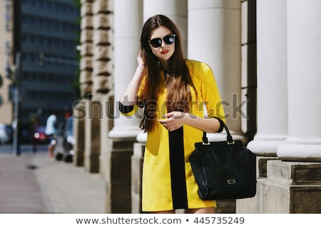 Frau Kleid Straße Gläser Leder Gürtel Stock foto © ElenaBatkova