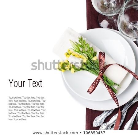 Summer party table setting with yellow dishes stock photo © furmanphoto
